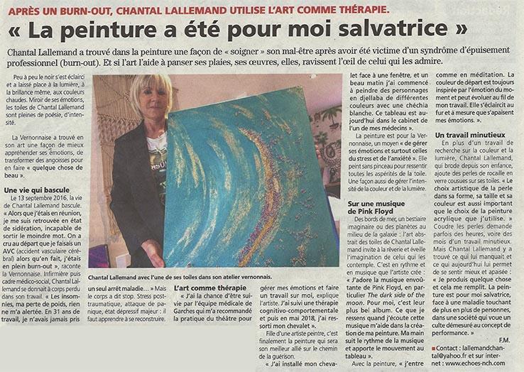 Peinture et burnout - Presse - Chantal Lallemand peintre